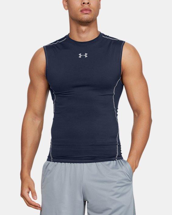 Men's UA HeatGear® Armour Sleeveless Compression Shirt, Navy, pdpMainDesktop image number 0