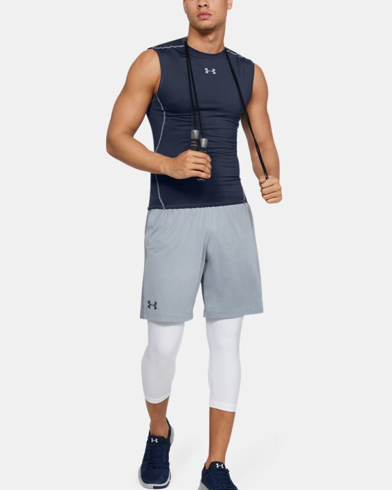 Men's UA HeatGear® Armour Sleeveless Compression Shirt, Navy, pdpMainDesktop image number 3