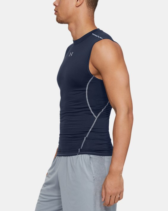Men's UA HeatGear® Armour Sleeveless Compression Shirt, Navy, pdpMainDesktop image number 5