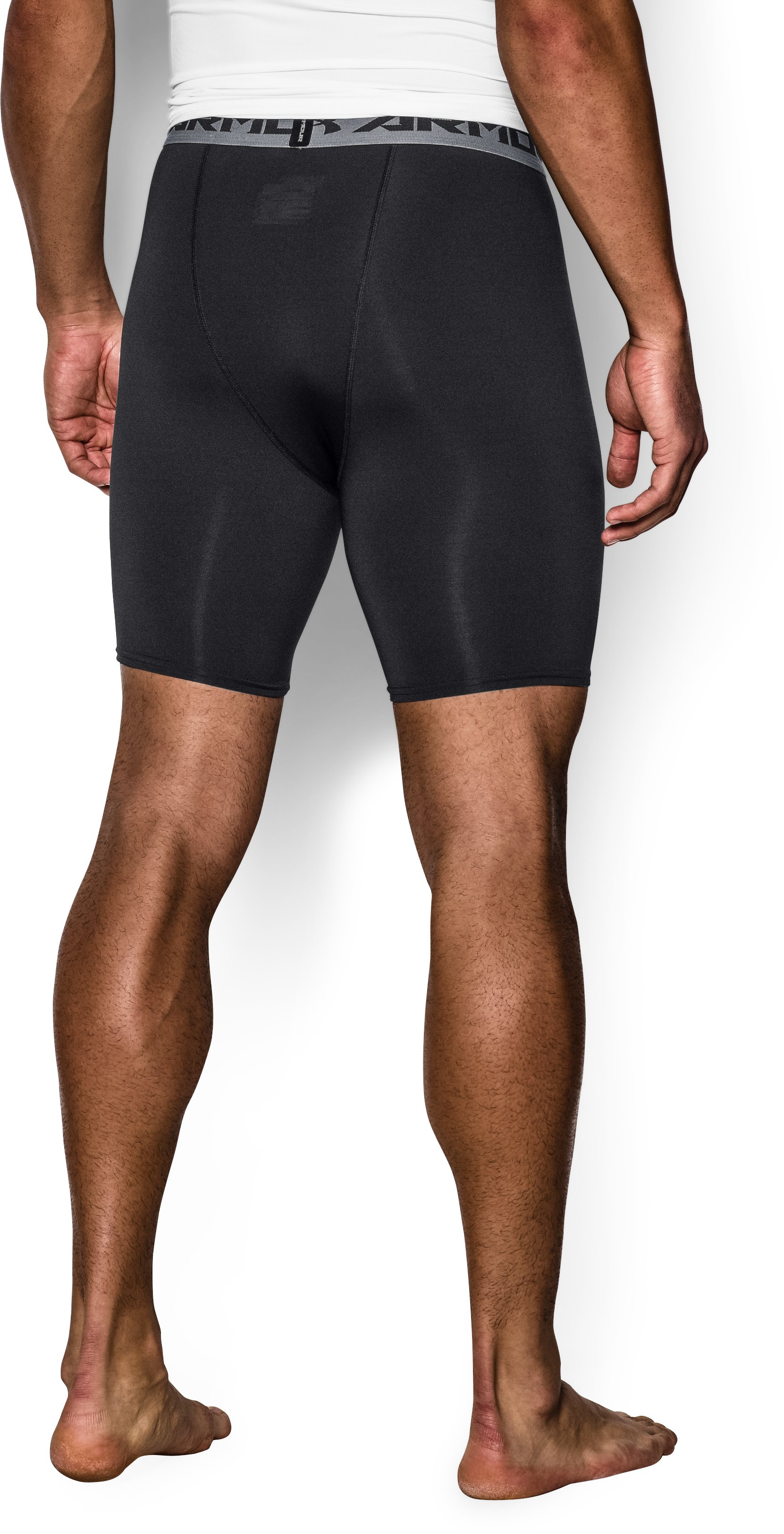 Men's UA HeatGear® Armour Compression Shorts — Mid, Black , undefined