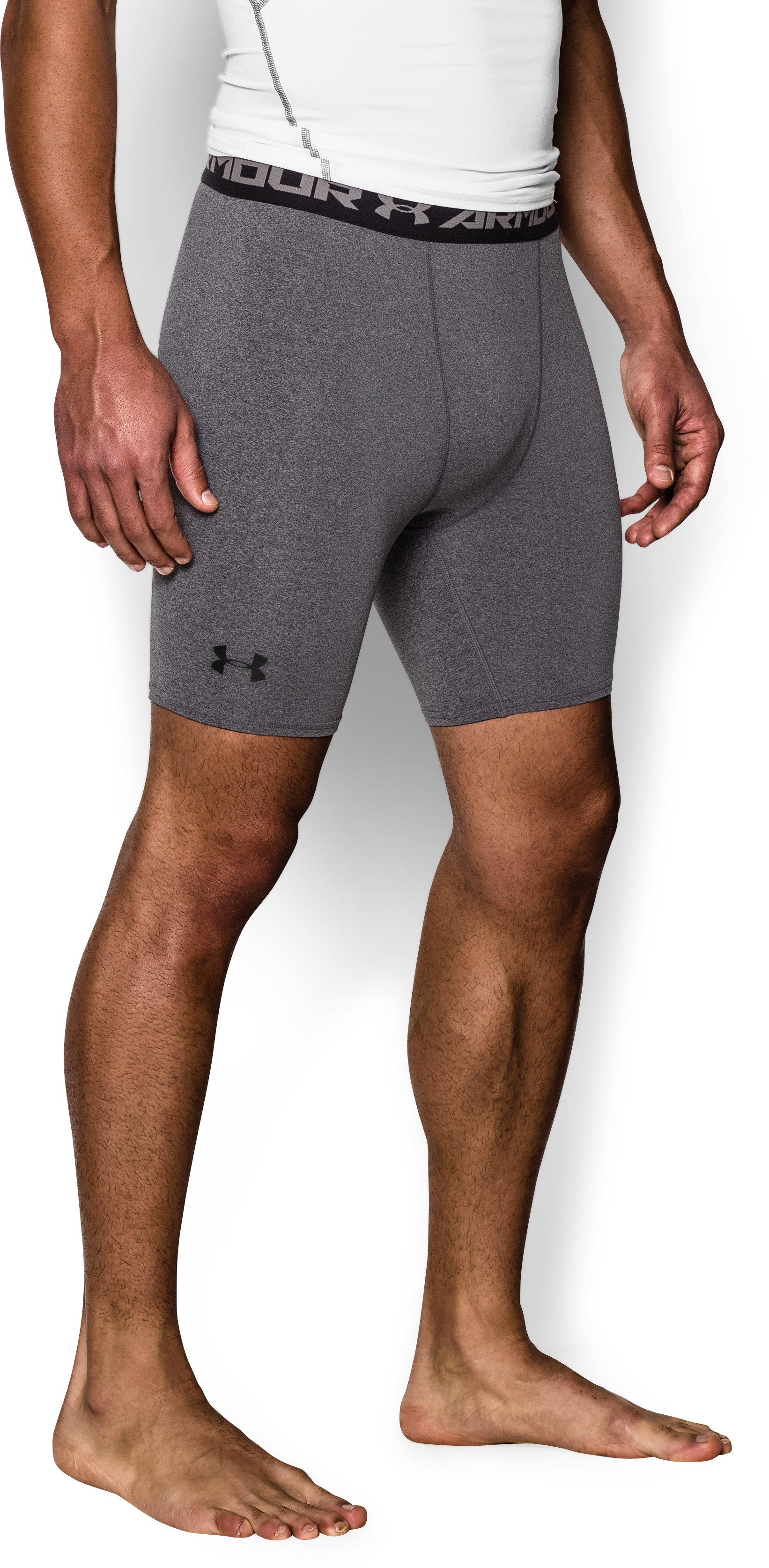 Men's UA HeatGear® Armour Compression Shorts – Mid , Carbon Heather, zoomed image