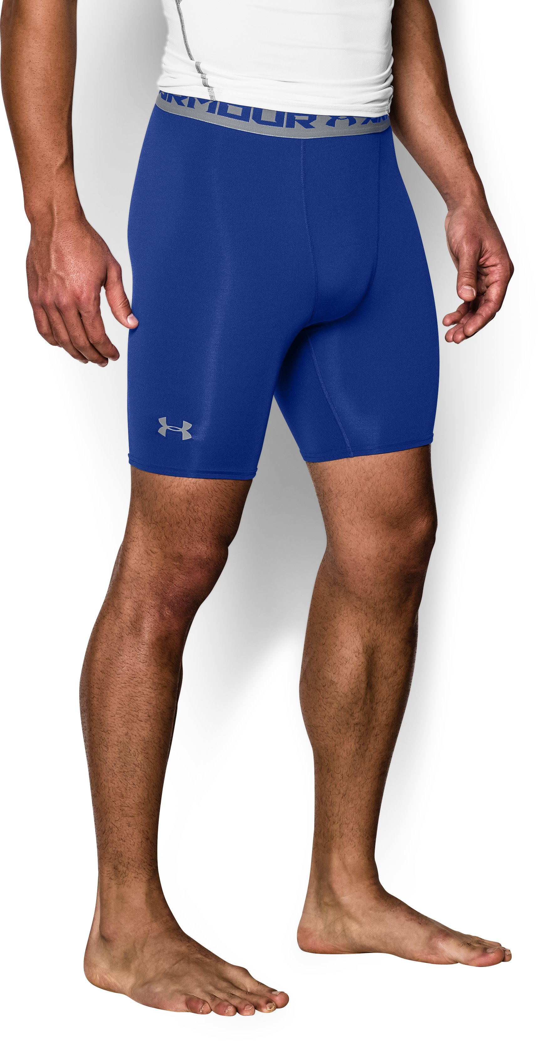 Men's UA HeatGear® Armour Compression Shorts – Mid , Royal, zoomed image