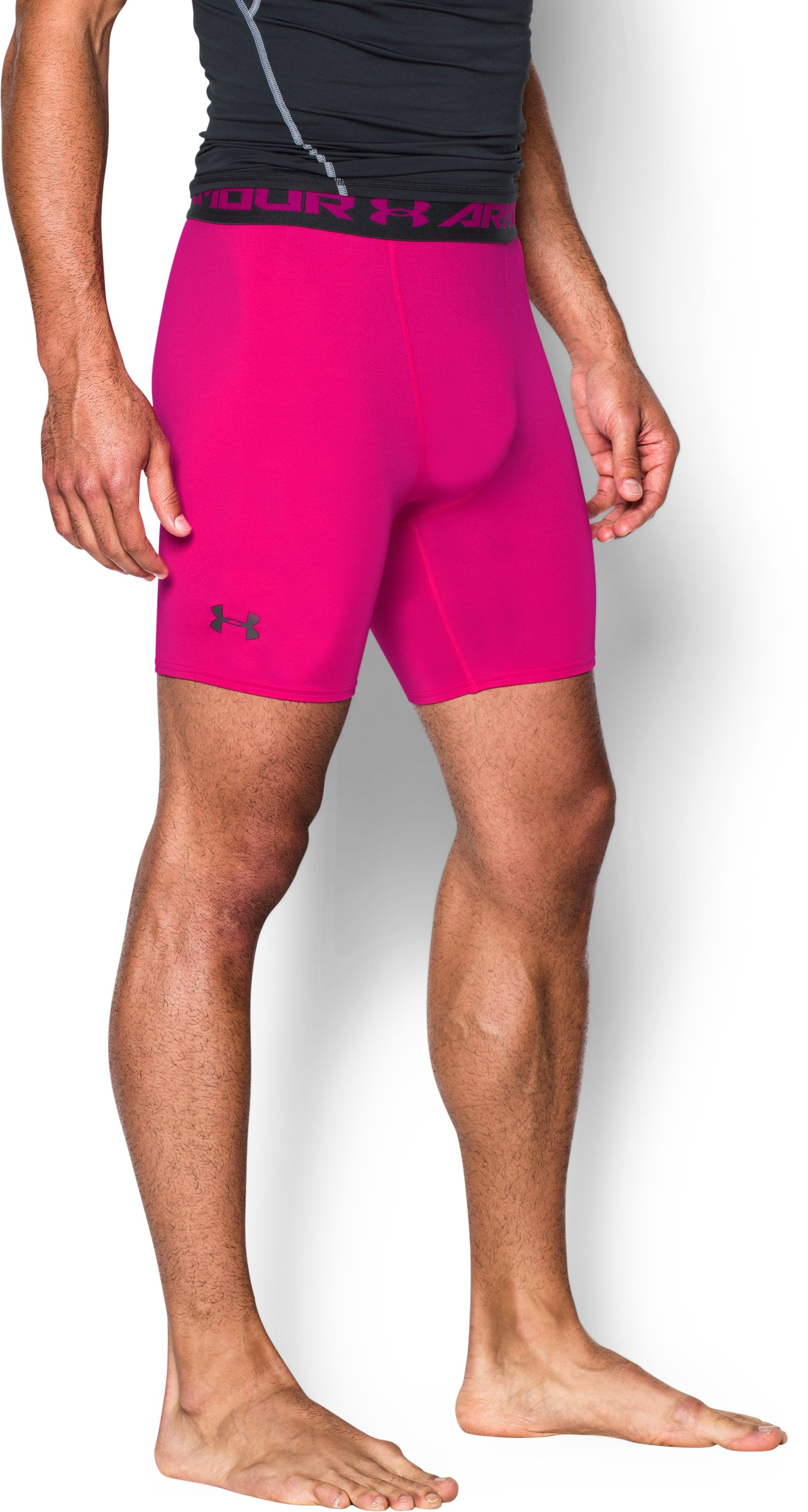 Men's UA HeatGear® Armour Compression Shorts — Mid, Tropic Pink,