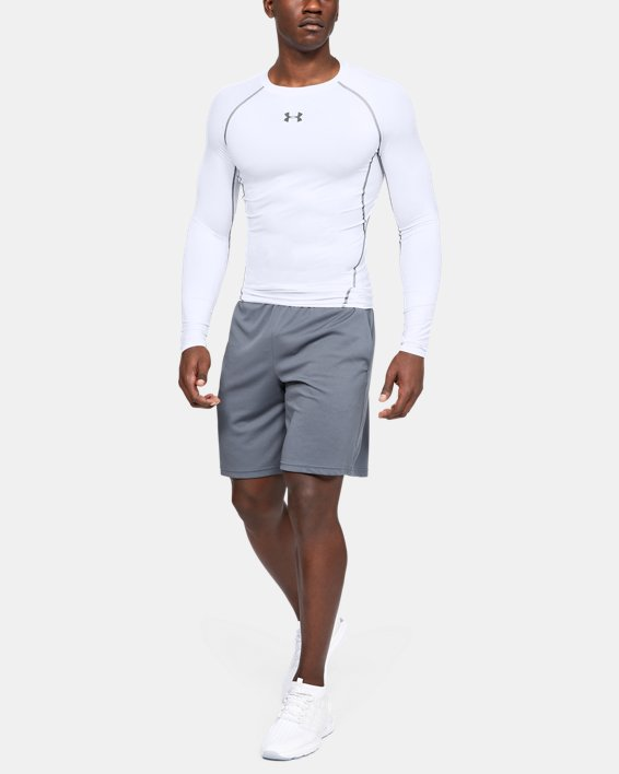 Men's UA HeatGear® Armour Long Sleeve Compression Shirt, White, pdpMainDesktop image number 3