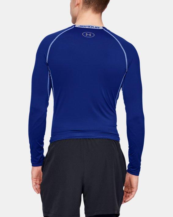 Men's UA HeatGear® Armour Long Sleeve Compression Shirt, Blue, pdpMainDesktop image number 4