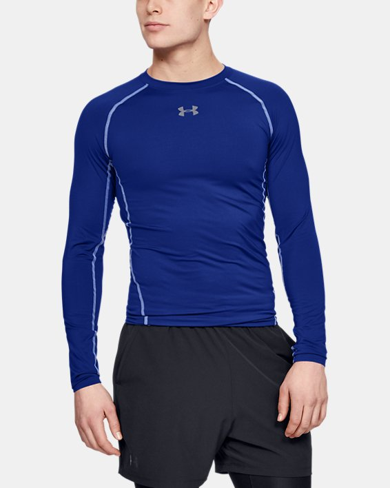 Men's UA HeatGear® Armour Long Sleeve Compression Shirt, Blue, pdpMainDesktop image number 0