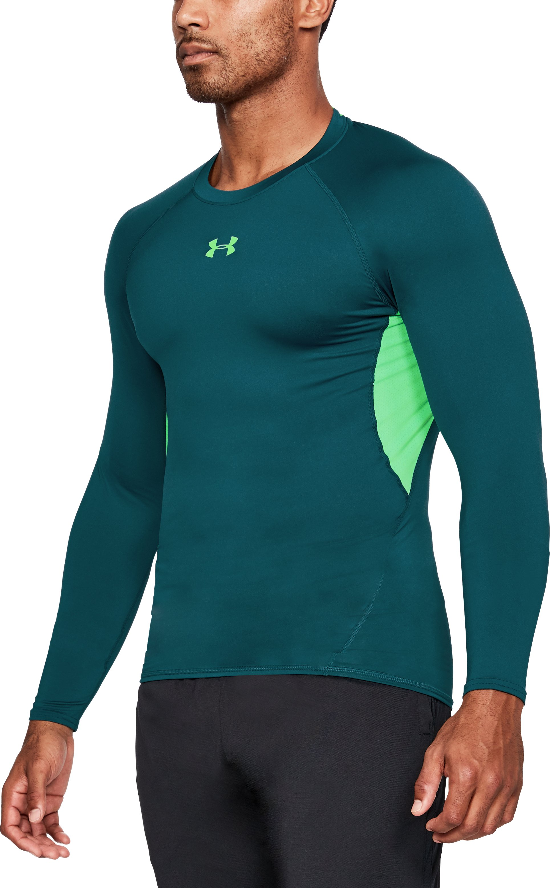 Men's UA HeatGear® Armour Long Sleeve Compression Shirt, TOURMALINE TEAL,