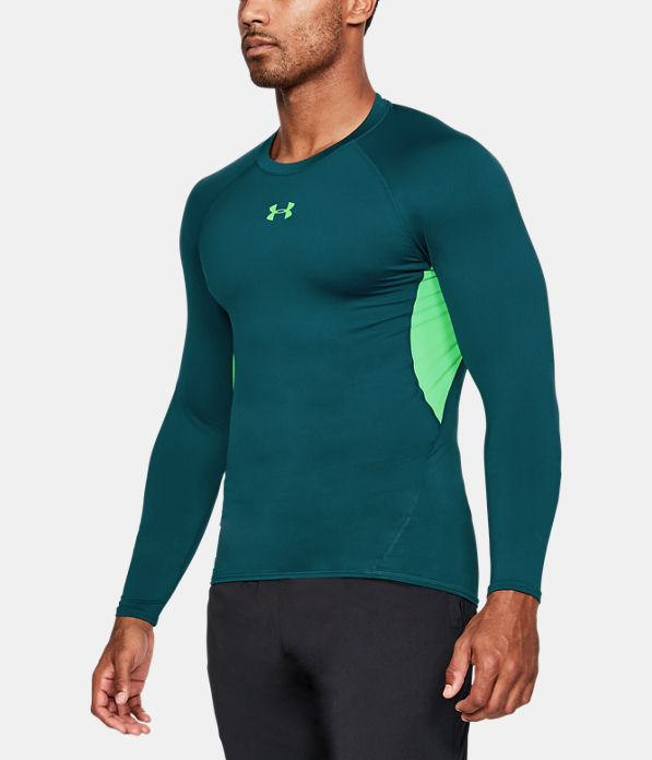 Men 39 s ua heatgear armour long sleeve compression shirt for Under armour cold gear shirt mens