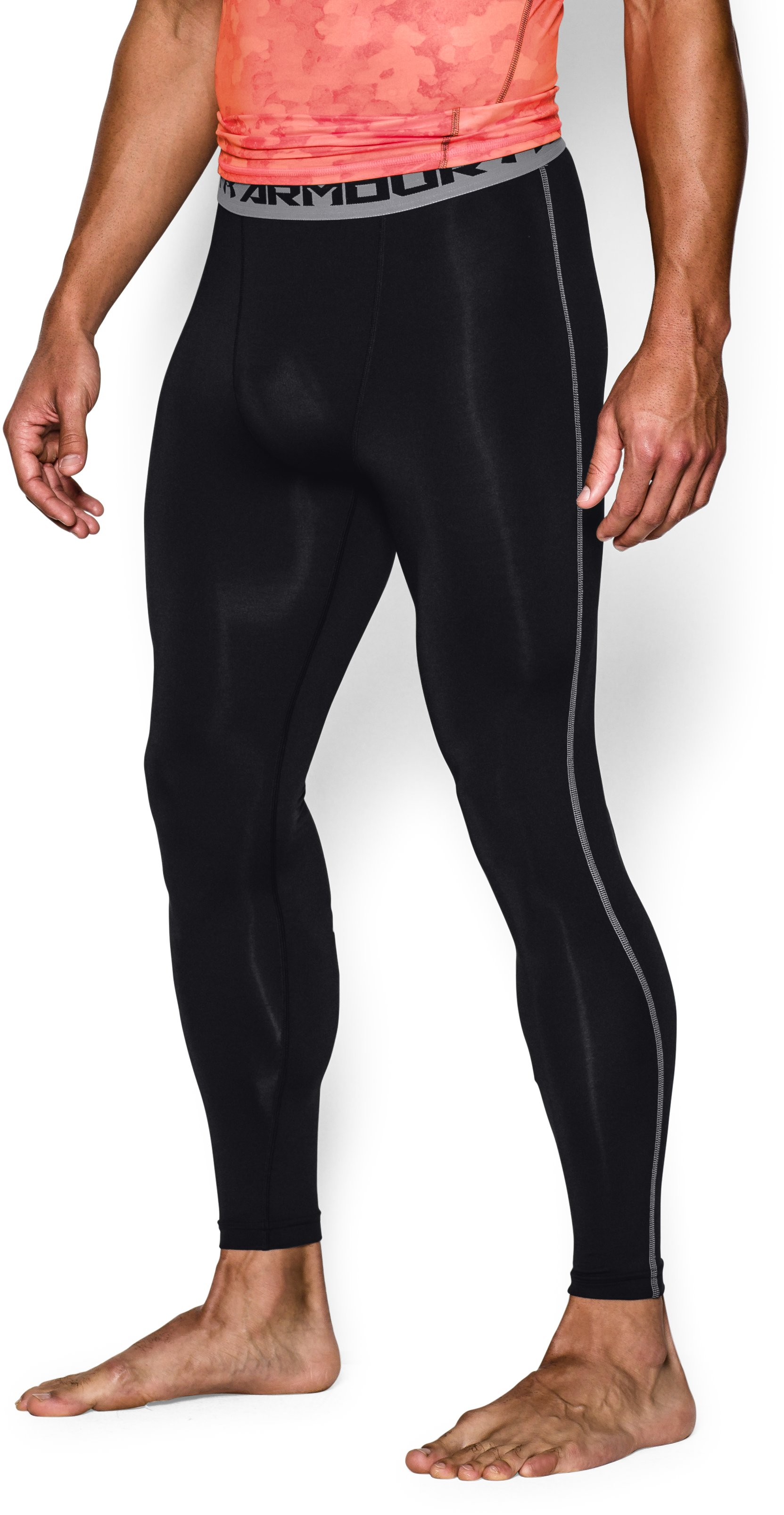 Men's UA HeatGear® Armour Compression Leggings, Black ,
