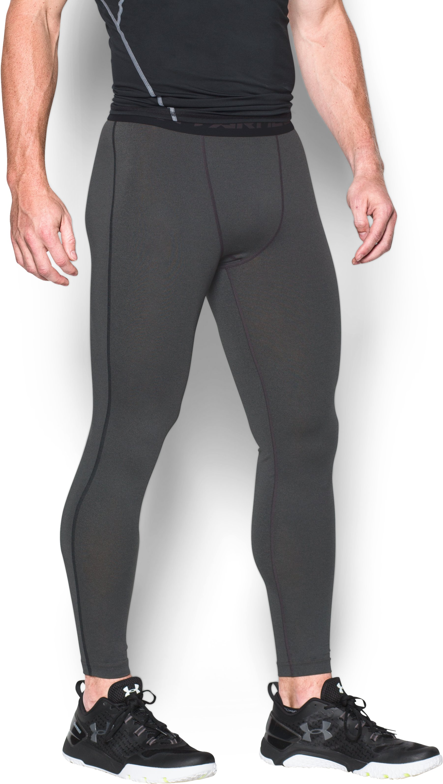Men's UA HeatGear® Armour Compression Leggings, Carbon Heather, zoomed image