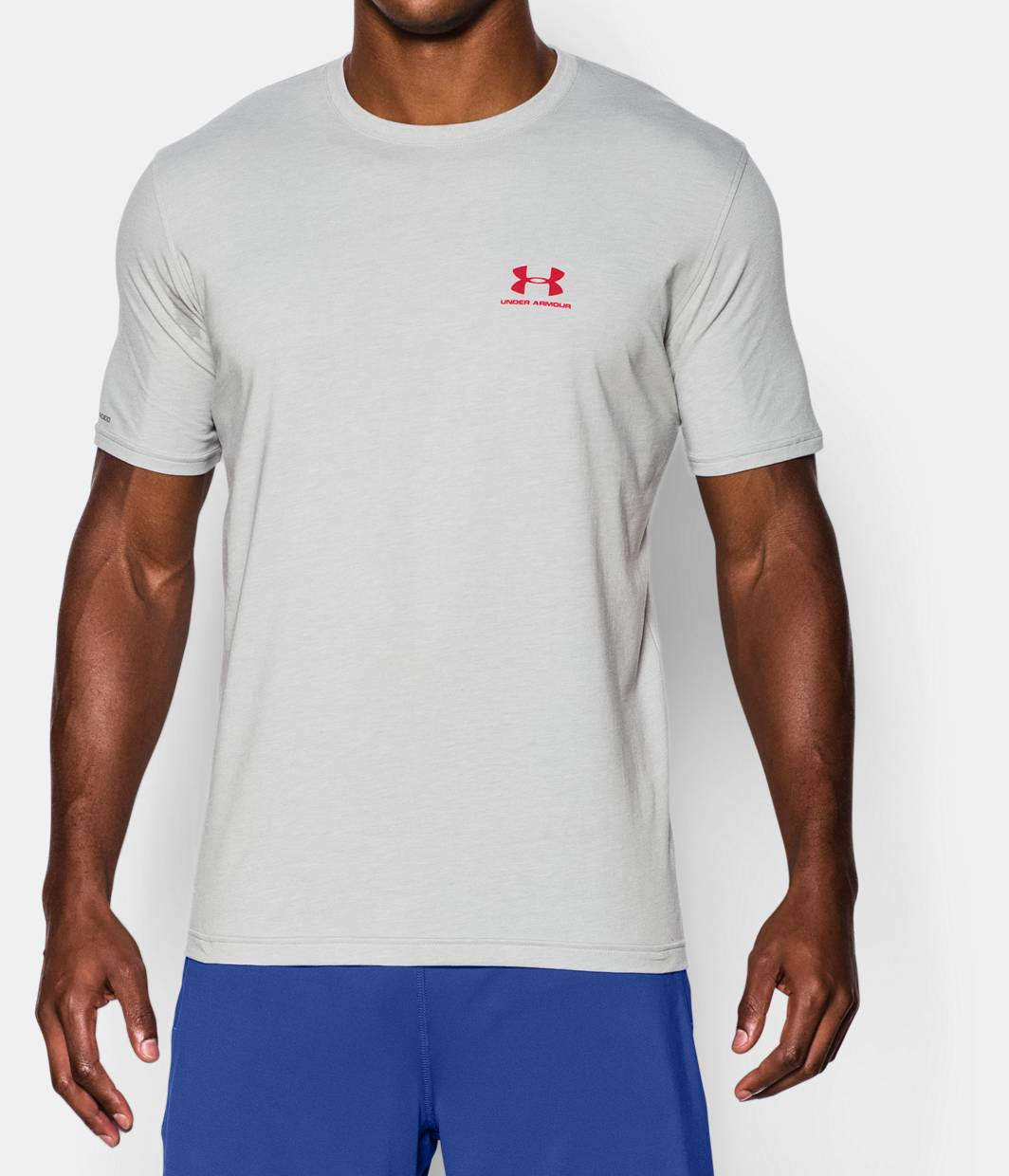 Men 39 s ua charged cotton left chest lockup t shirt under for T shirt left chest logo size