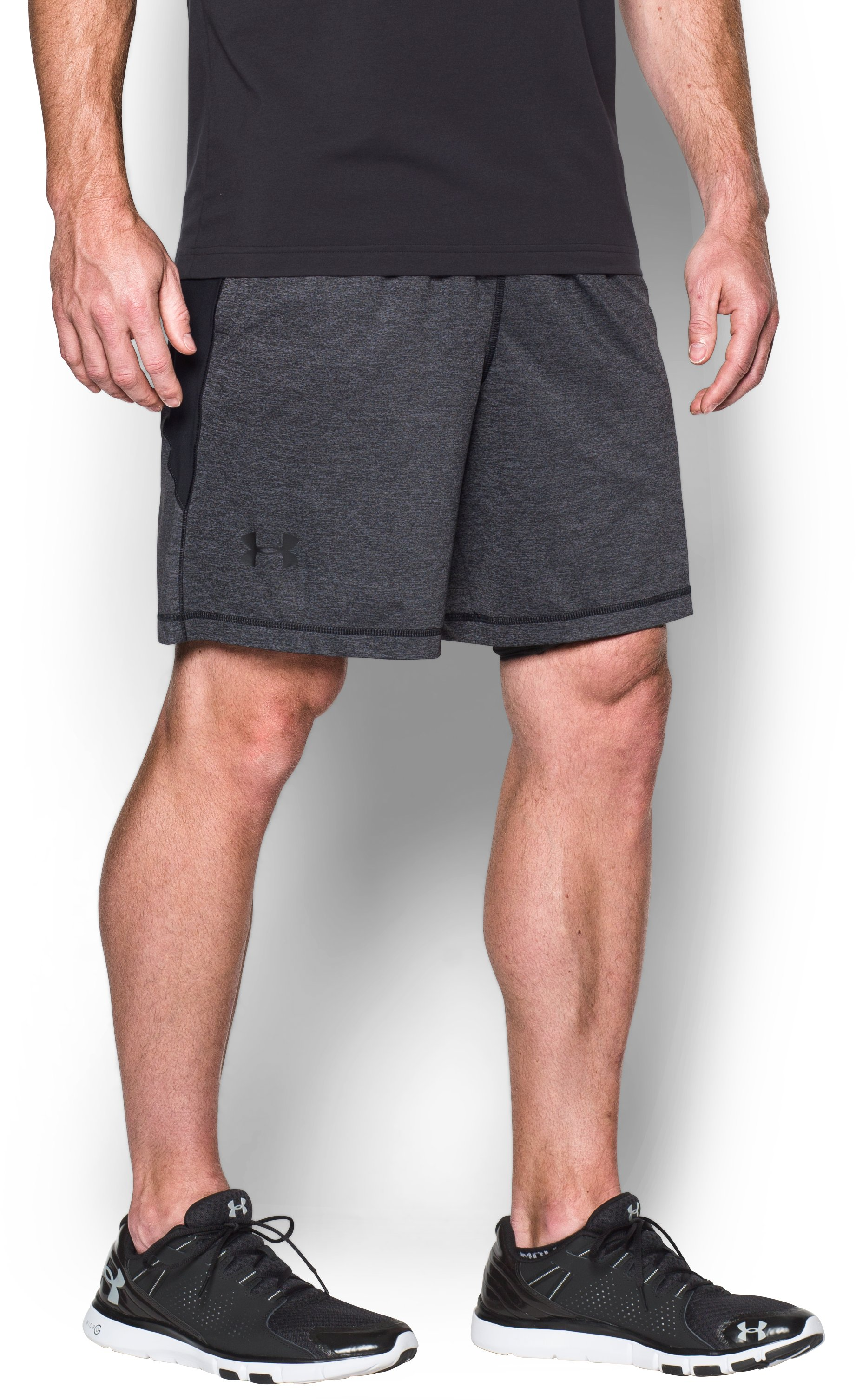 "Men's UA Raid Printed 8"" Shorts, Steel, zoomed image"