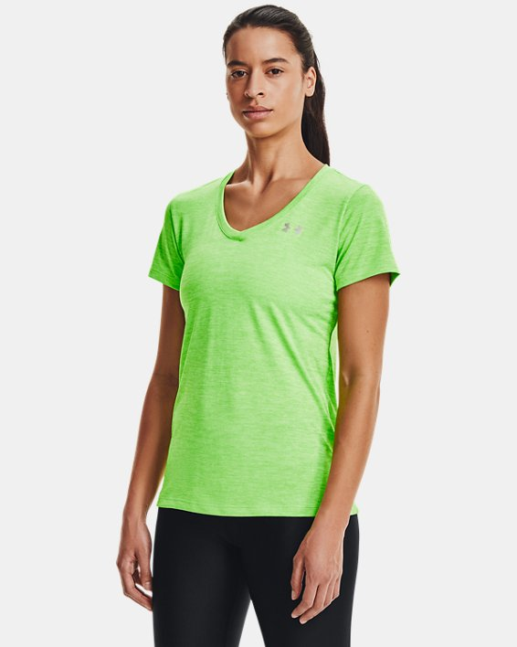 Women's UA Tech™ Twist V-Neck, Green, pdpMainDesktop image number 0