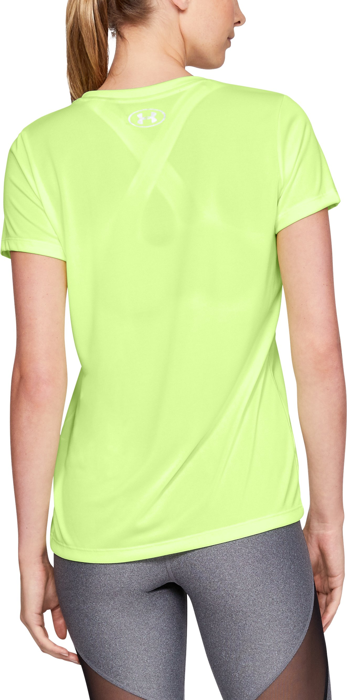 Women's UA Tech™ Twist V-Neck, LIME FIZZ,