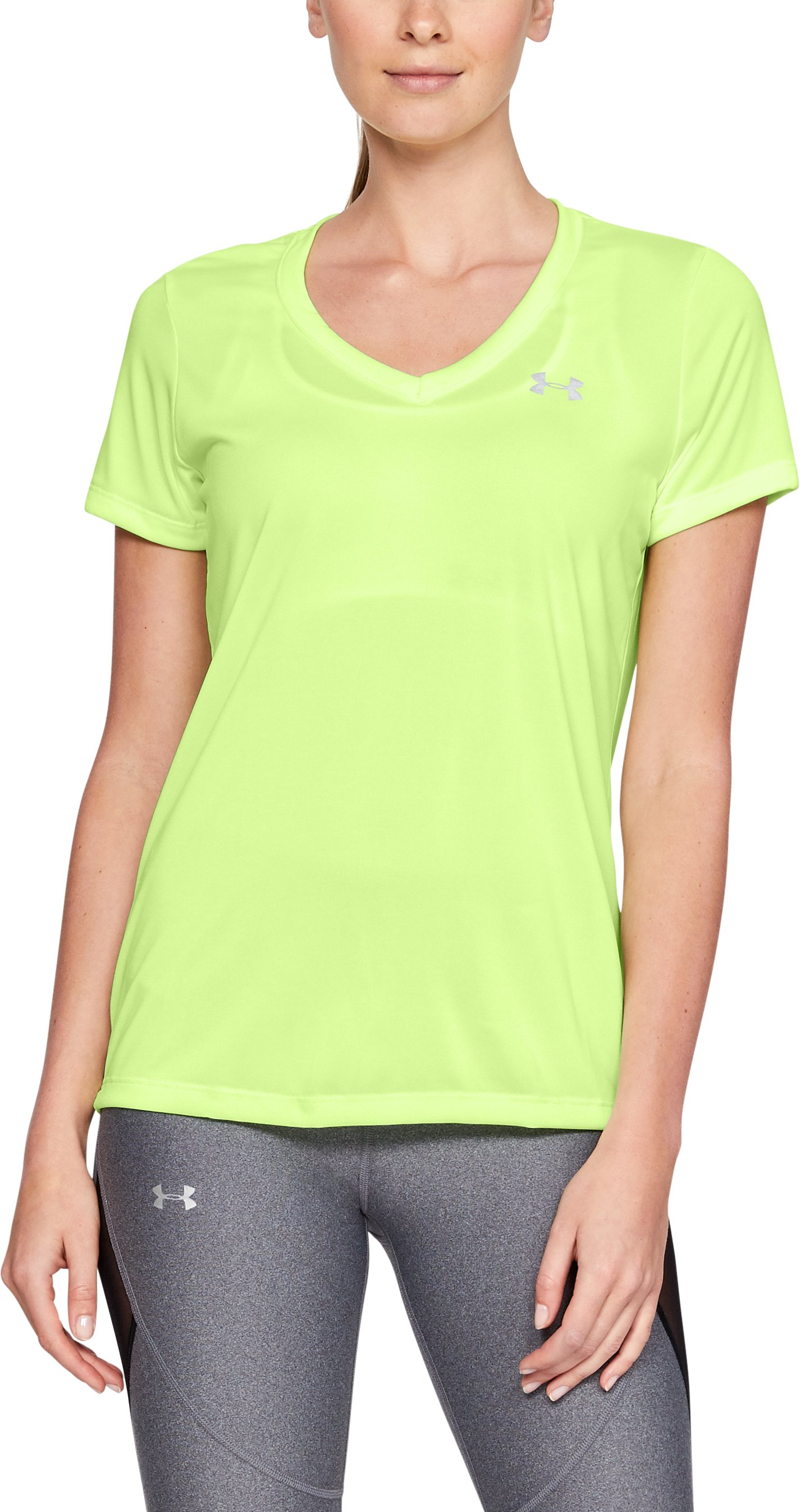 Women's UA Tech™ Twist V-Neck, LIME FIZZ
