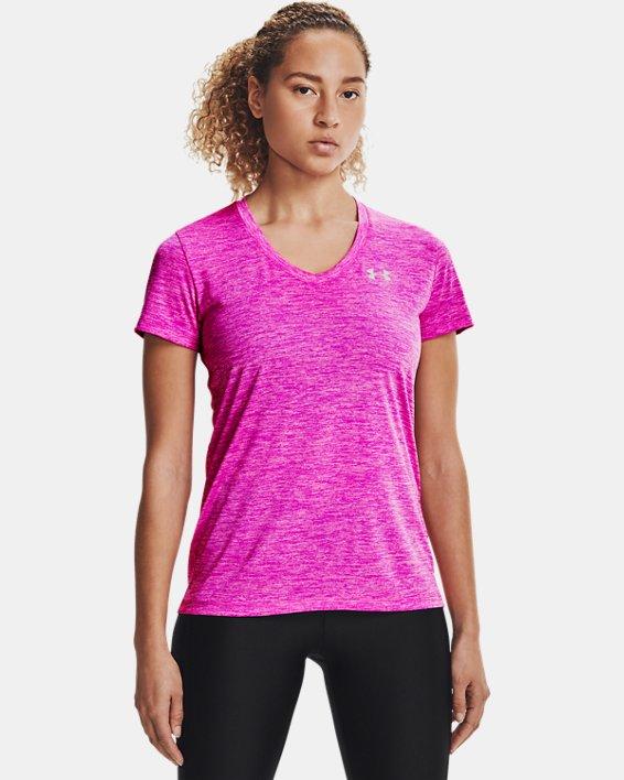 Women's UA Tech™ Twist V-Neck, Pink, pdpMainDesktop image number 0