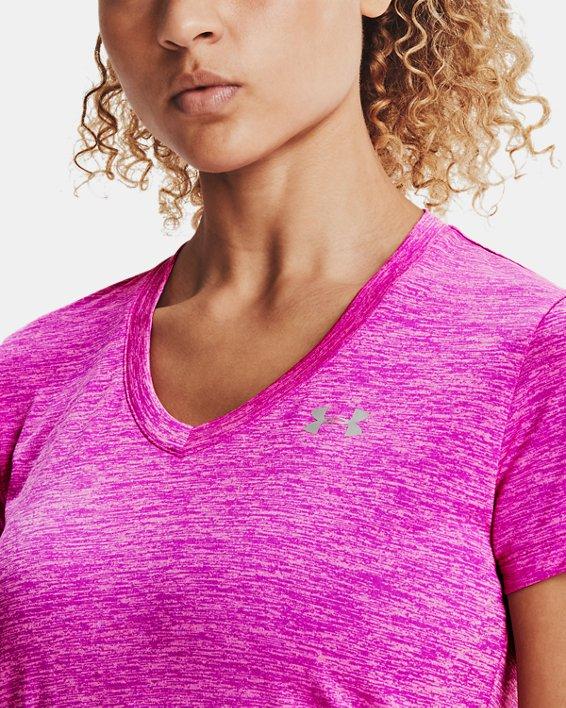 Women's UA Tech™ Twist V-Neck, Pink, pdpMainDesktop image number 3