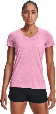 Under Armour señora Sport-Fitness-t-shirt Graphic script logotipo fashion Crew Pink