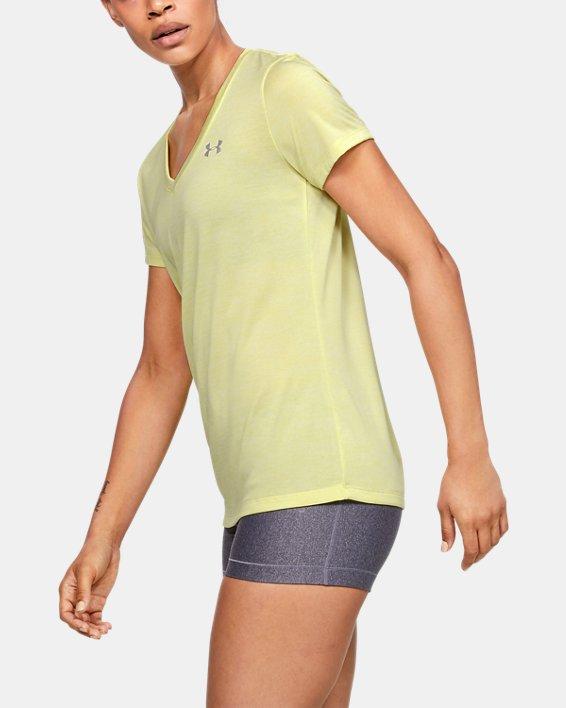 Women's UA Tech™ Twist V-Neck, Yellow, pdpMainDesktop image number 3