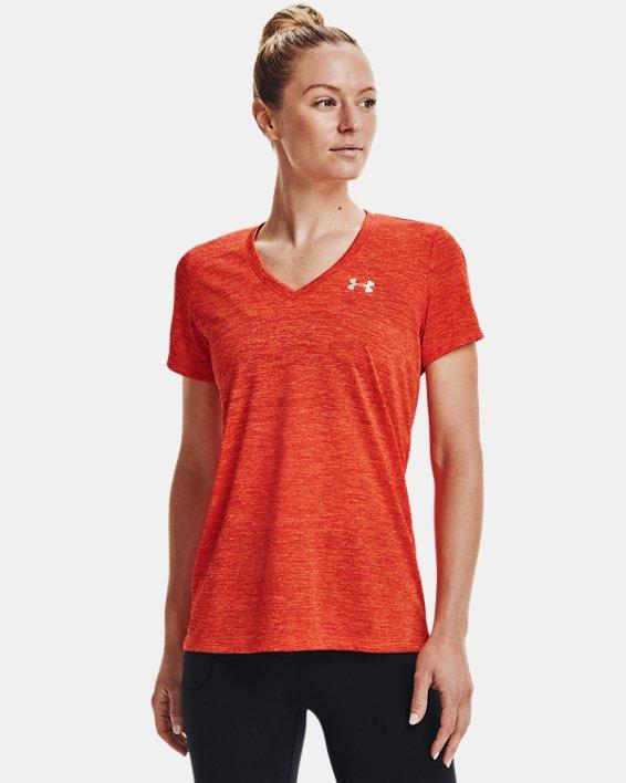 Damen UA Tech™ Oberteil mit Twist-Effekt und V-Ausschnitt, Orange, pdpMainDesktop image number 0