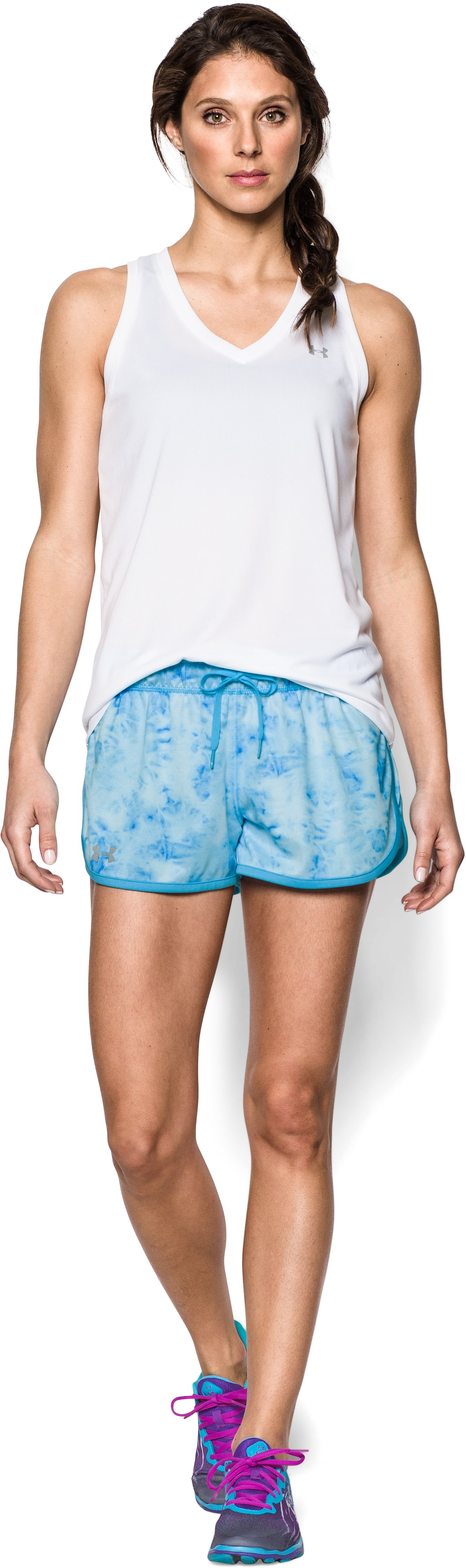Women's UA Tech™ Printed Short, ISLAND BLUES, Front