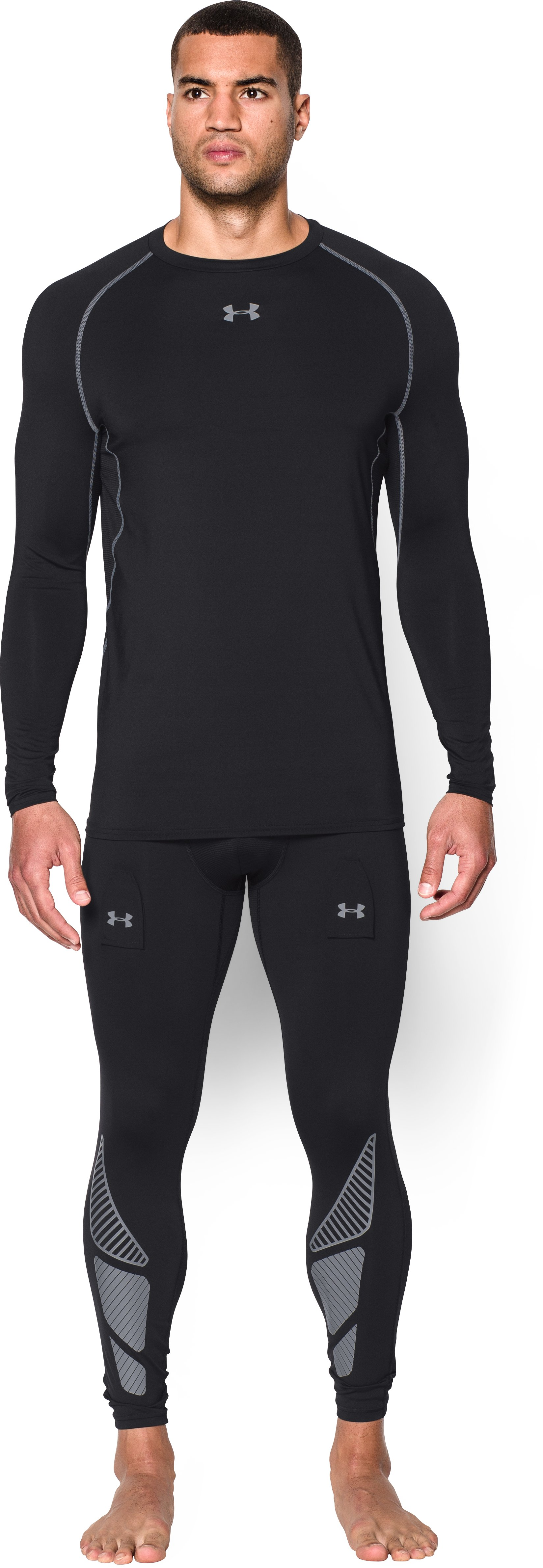 Men's UA Purestrike Grippy Compression Shirt, Black , Front