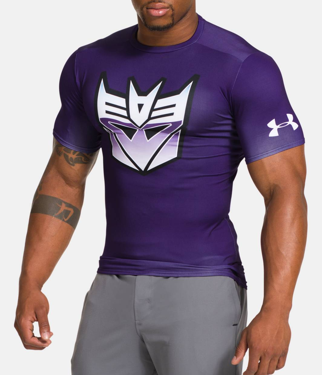 Men s under armour alter ego transformers decepticons for Under armour lifting shirts