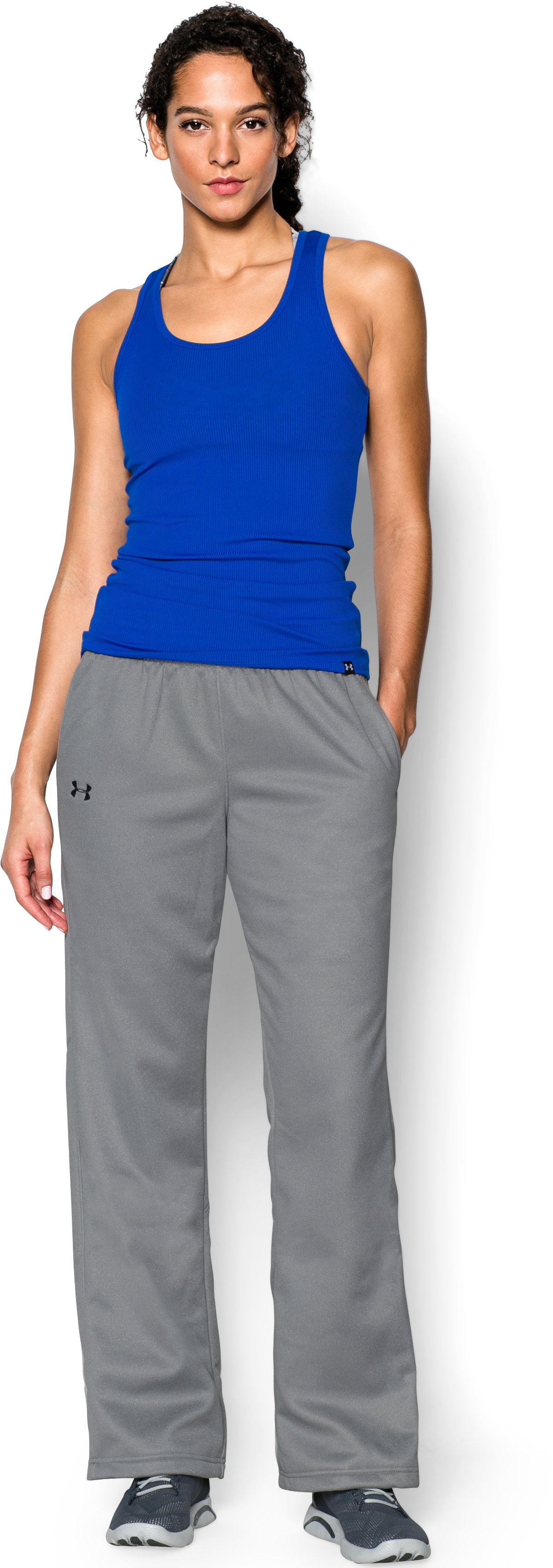 Women's  UA Storm Armour Fleece® Pants, True Gray Heather, Front