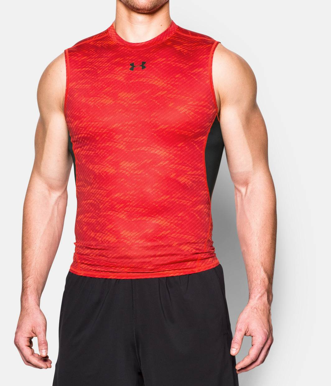 Men s ua heatgear armour printed sleeveless compression for Printed under armour shirts