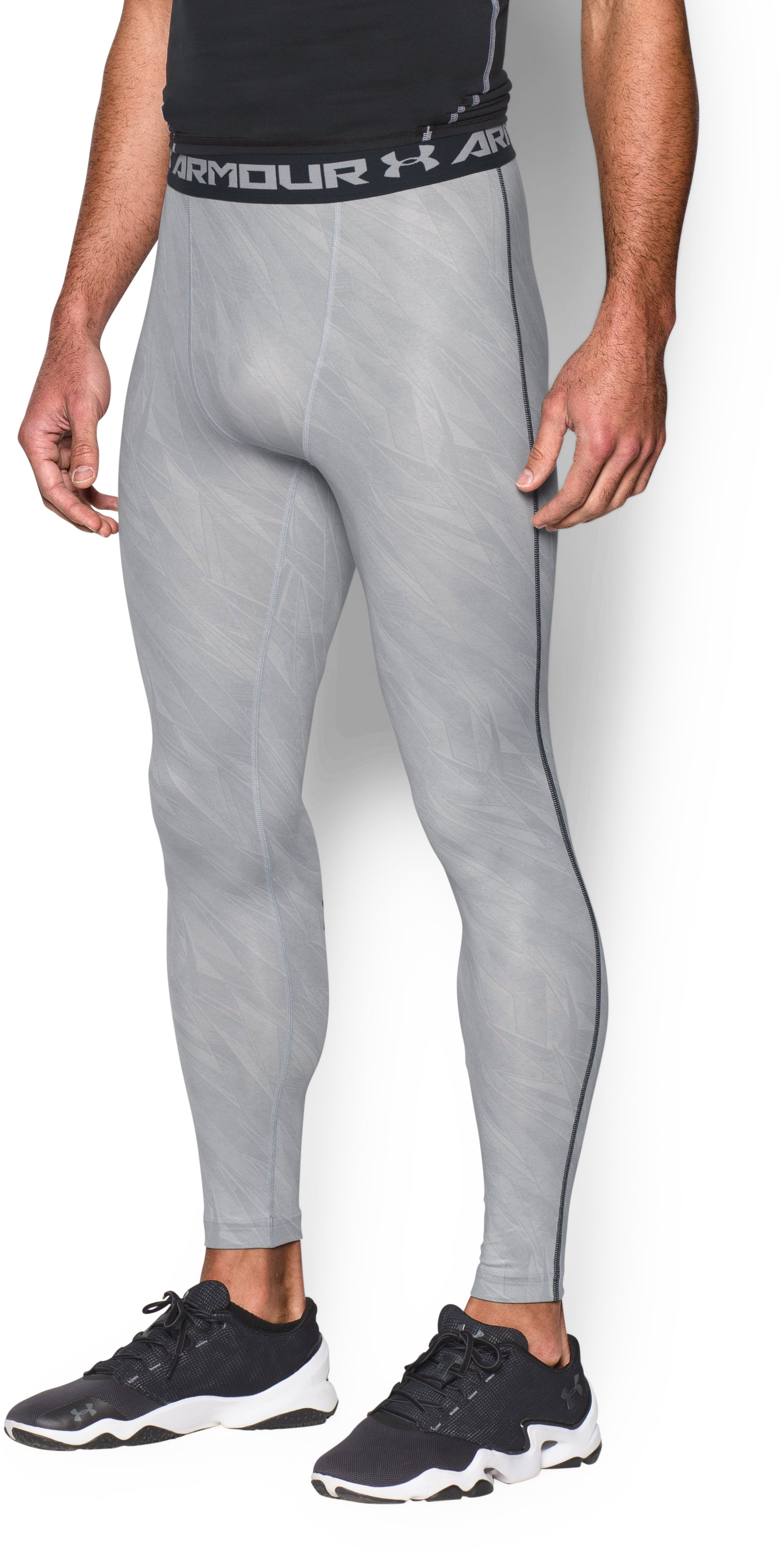 Men's UA HeatGear® Armour Printed Compression Leggings, OVERCAST GRAY