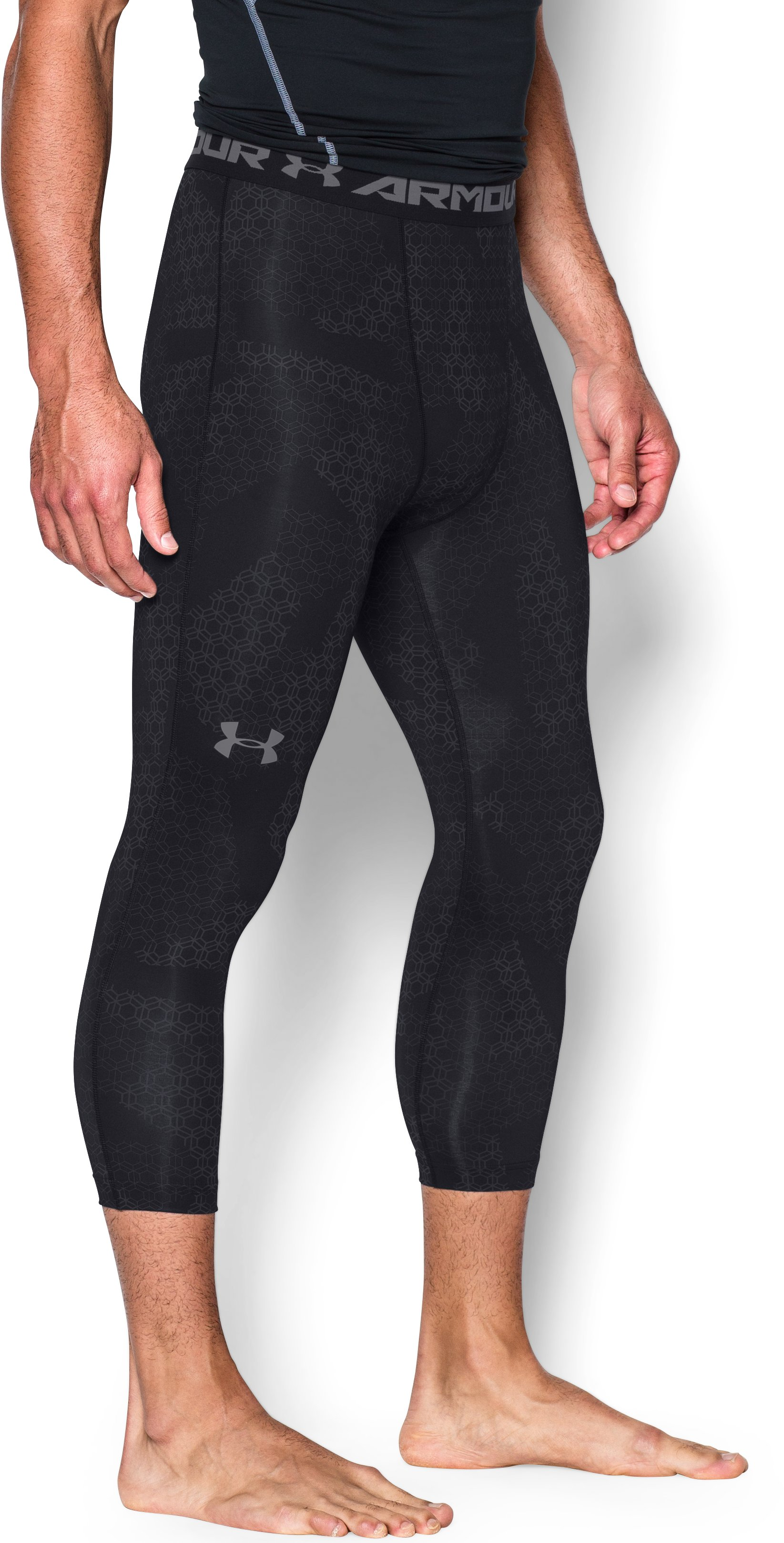 Men's UA HeatGear® Armour Printed ¾ Leggings, Black , undefined