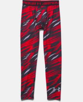 Boys' UA HeatGear® Armour Printed Fitted Leggings