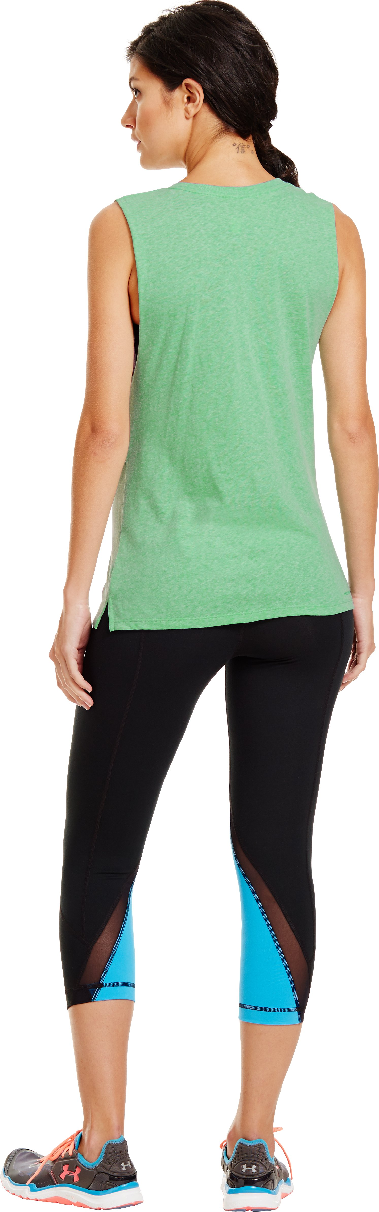 Women's UA Love Gym Sleeveless T-Shirt, EMERALD LAKE, Back