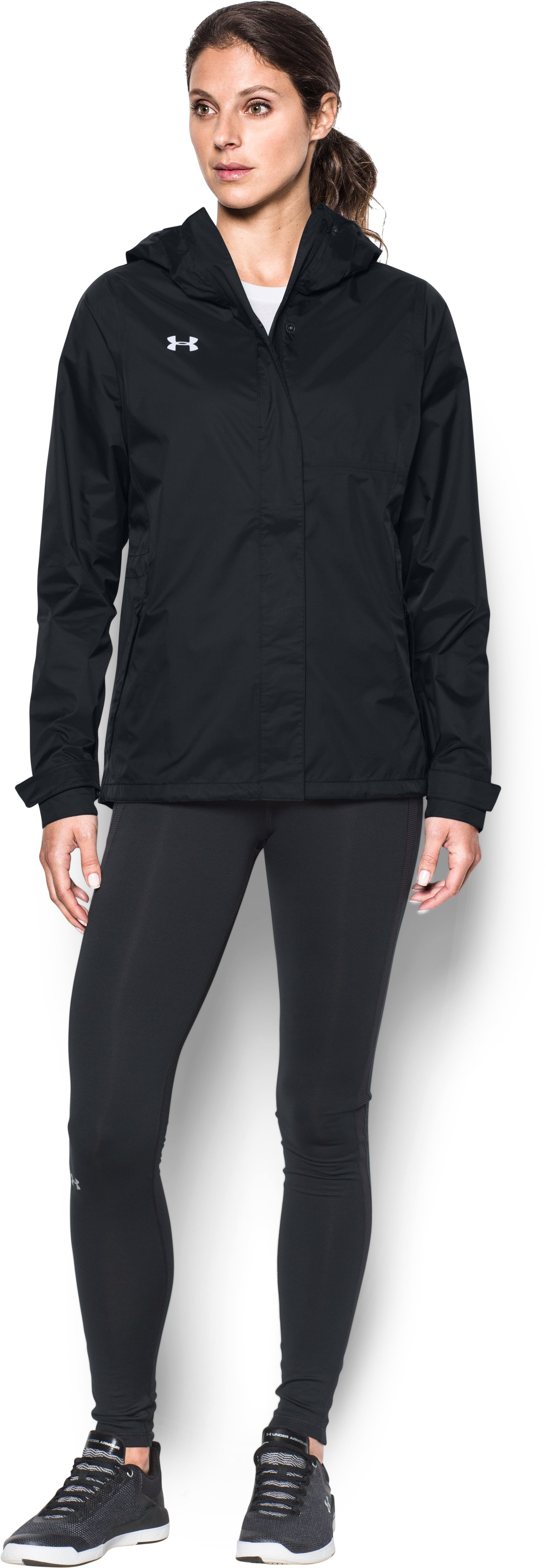 Women's UA Ace Rain Jacket, Black , Front