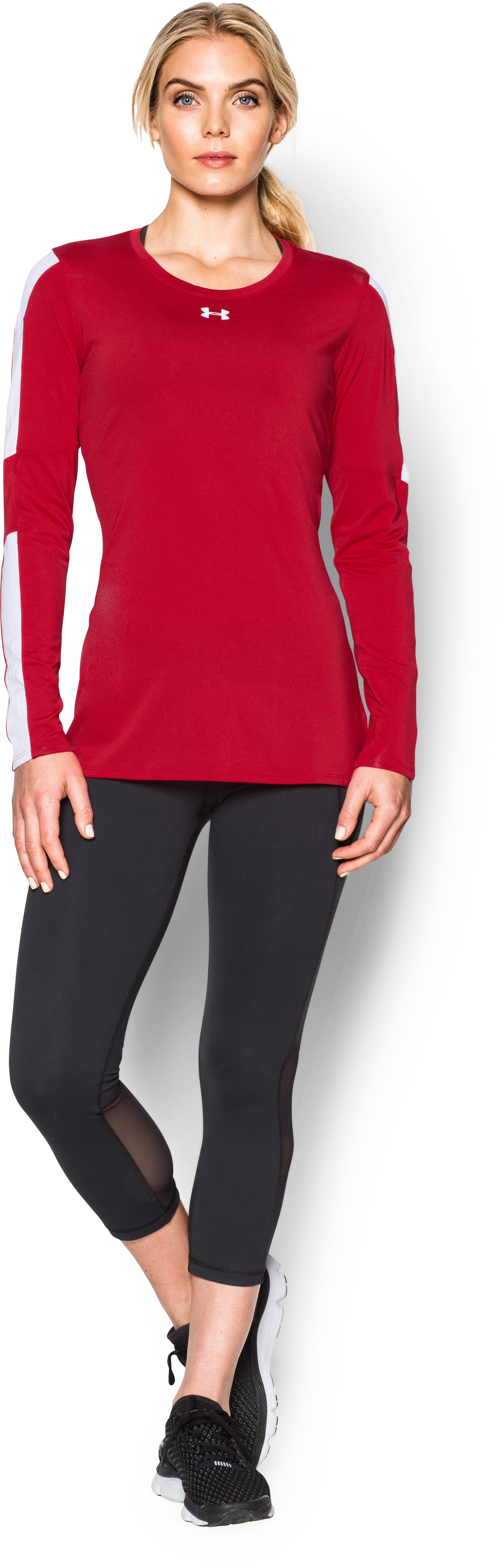 Women's UA Block Party Long Sleeve Jersey, Red, Front