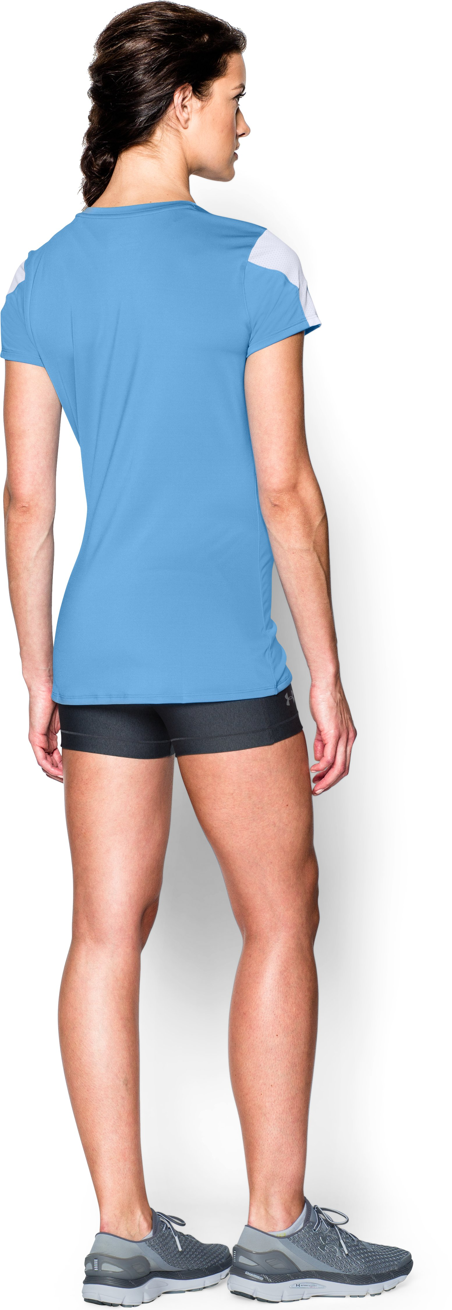 Women's UA Block Party Short Sleeve Jersey, Carolina Blue, Back