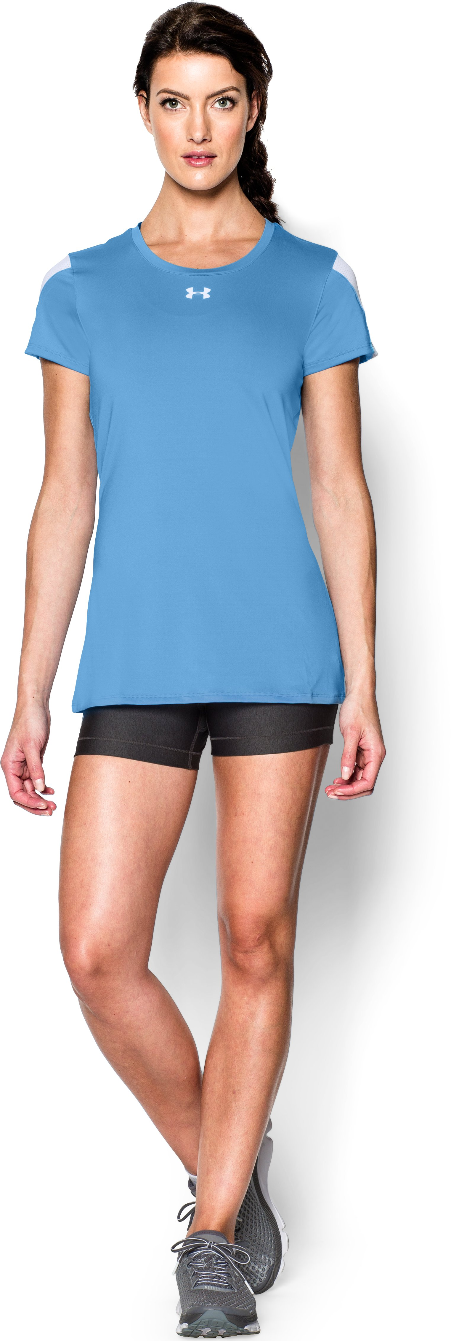 Women's UA Block Party Short Sleeve Jersey, Carolina Blue, Front