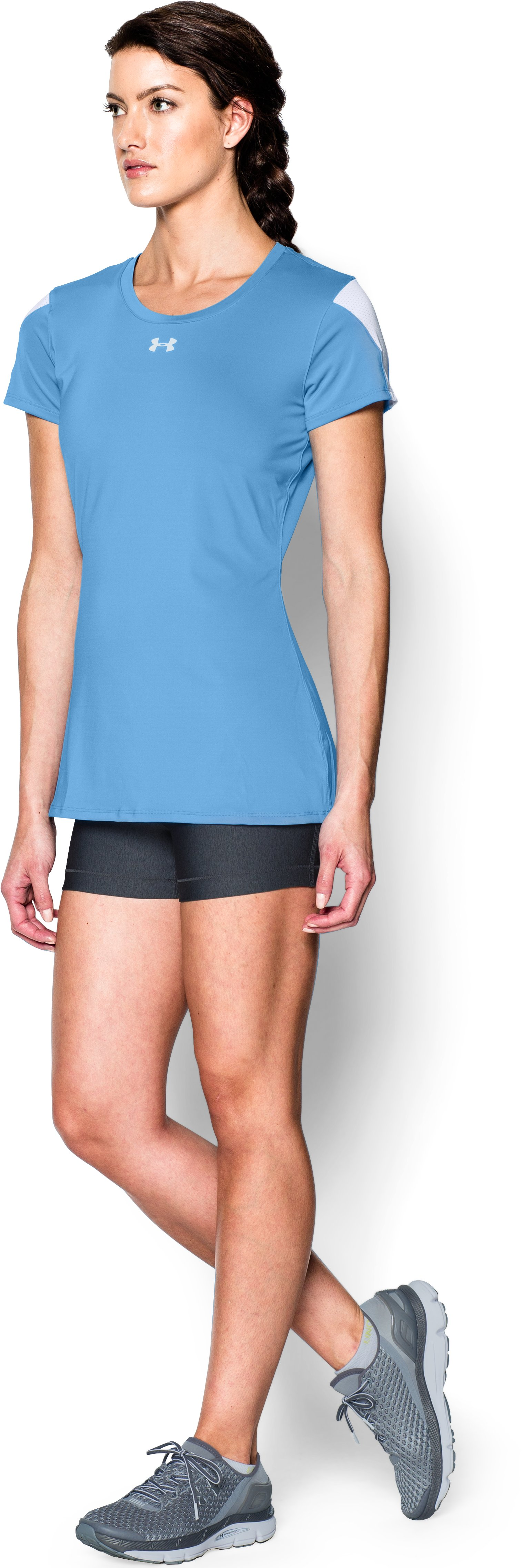 Women's UA Block Party Short Sleeve Jersey, Carolina Blue, undefined