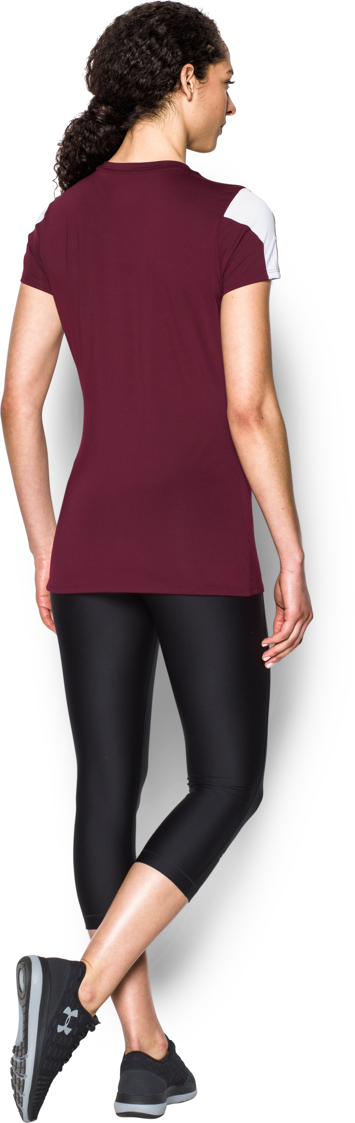 Women's UA Block Party Short Sleeve Jersey, Maroon, Back