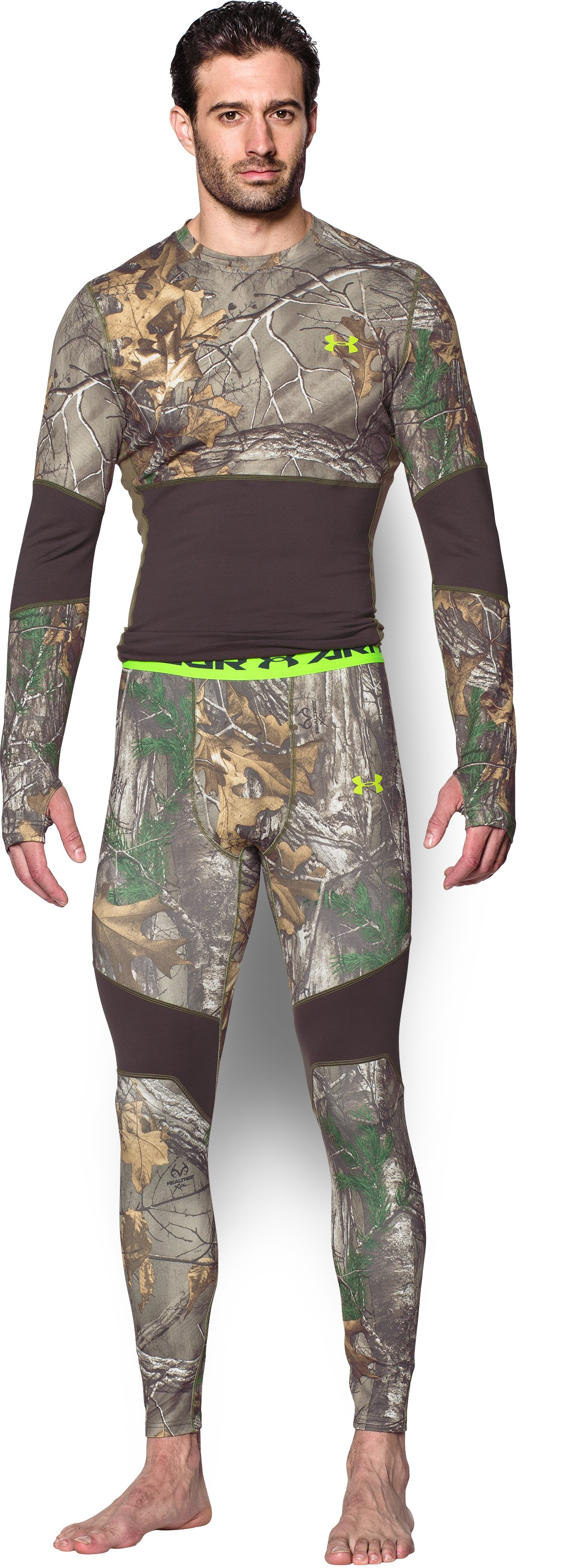 Men's UA ColdGear® Armour Scent Control Leggings, REALTREE AP-XTRA, Front