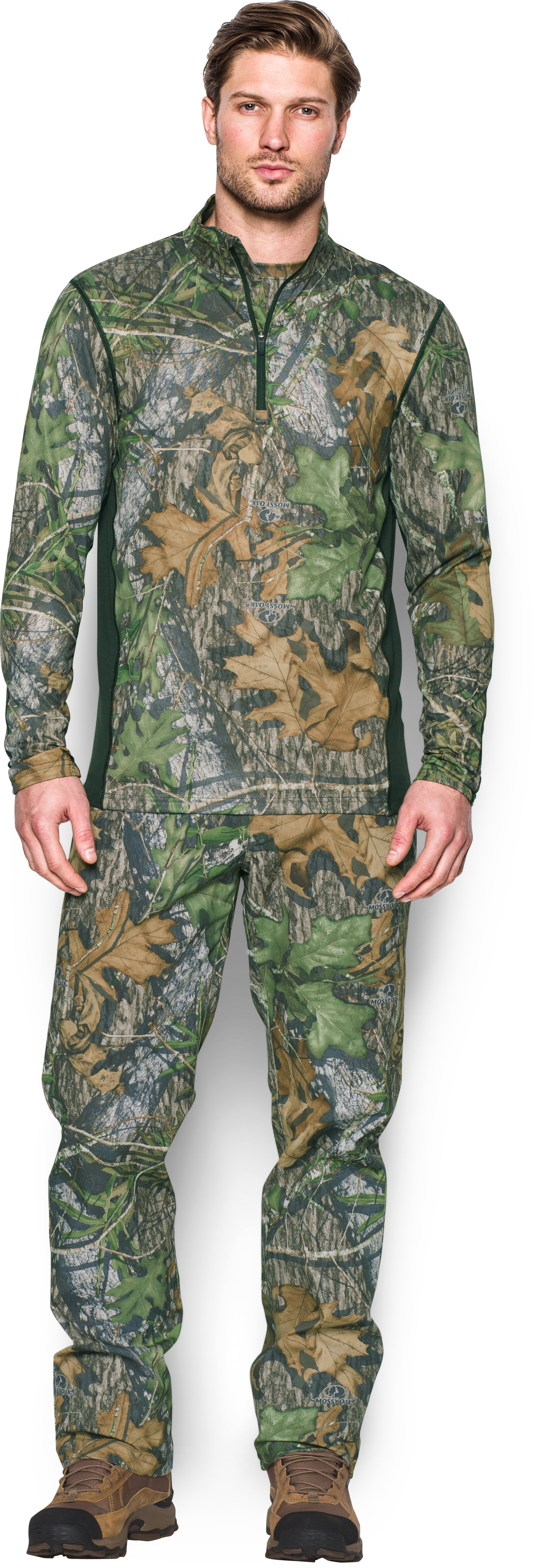 Men's UA Tech™ Scent Control ¼ Zip, Mossy Oak Obsession, Front