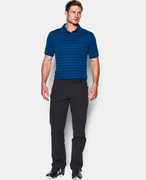 New to Outlet Men's UA Leaderboard Stripe Polo LIMITED TIME OFFER + FREE U.S. SHIPPING 4 Colors $37.49