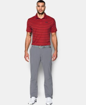 New to Outlet Men's UA Leaderboard Stripe Polo LIMITED TIME OFFER + FREE U.S. SHIPPING 1 Color $37.49