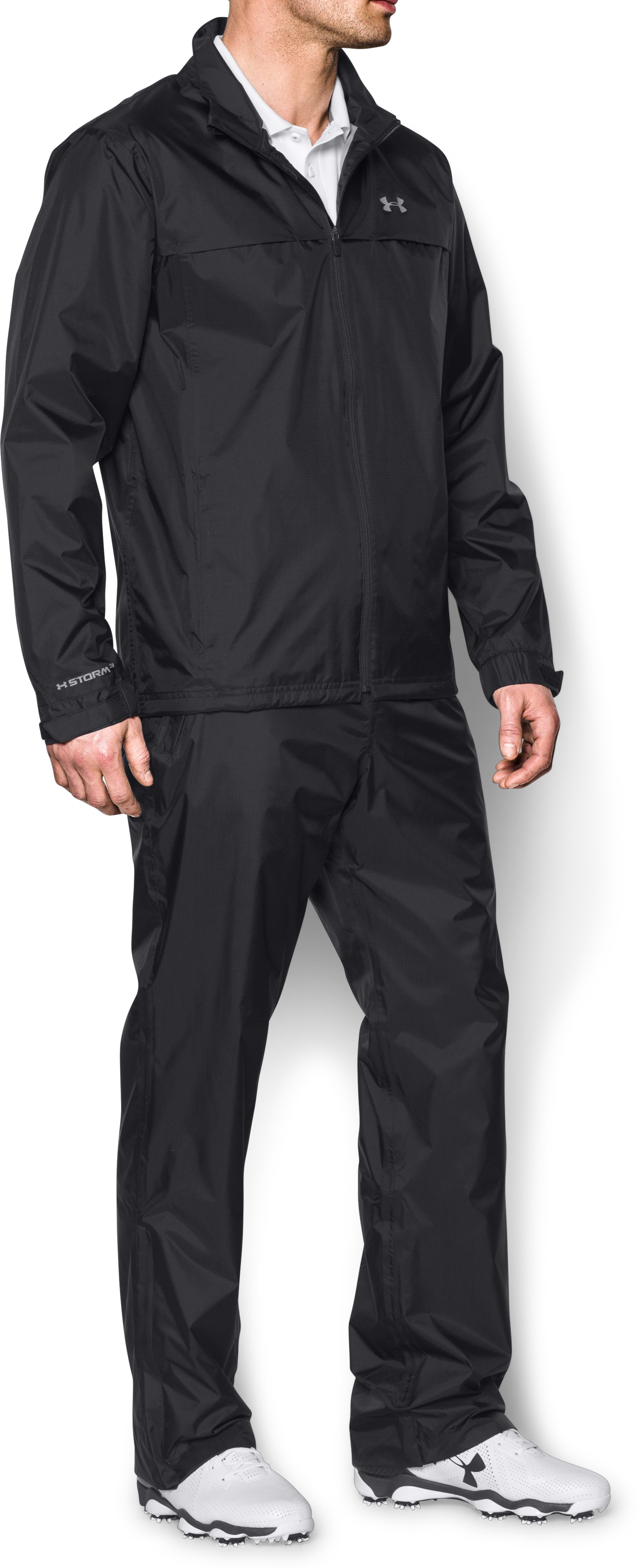 Men's UA Storm Golf Rain Suit, Black ,