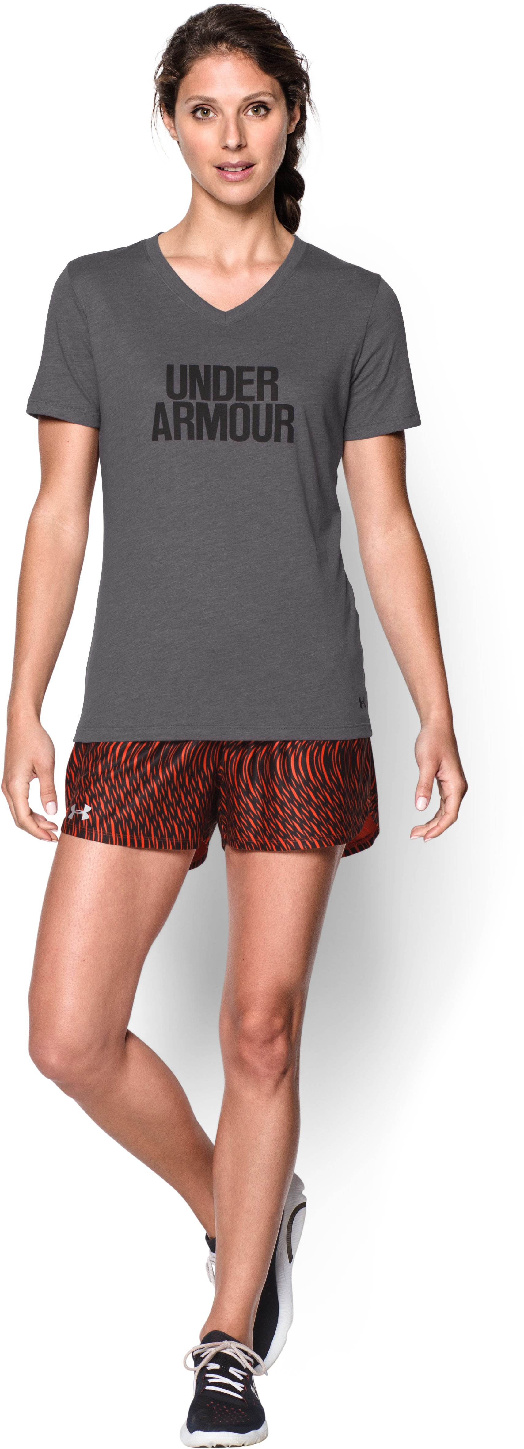 Women's UA Charged Cotton® Tri-Blend Wordmark V-Neck, Graphite