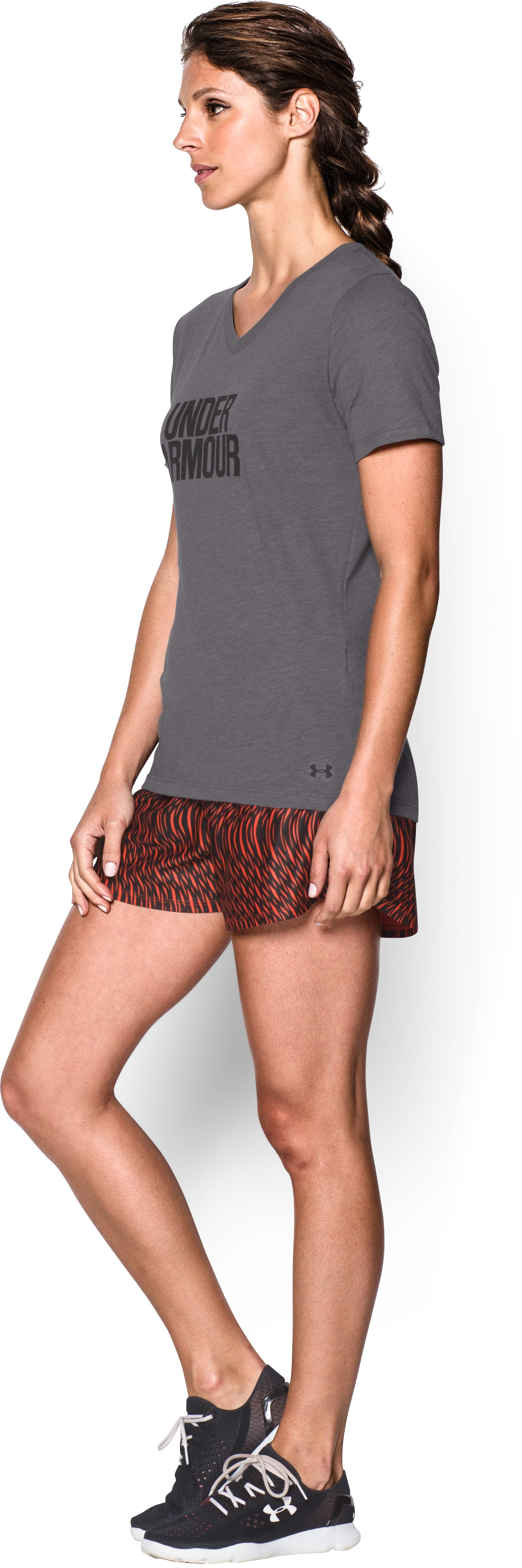 Women's UA Charged Cotton® Tri-Blend Wordmark V-Neck, Graphite,