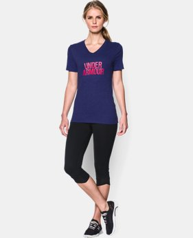 Women's UA Charged Cotton® Tri-Blend Wordmark V-Neck  1 Color $18.99