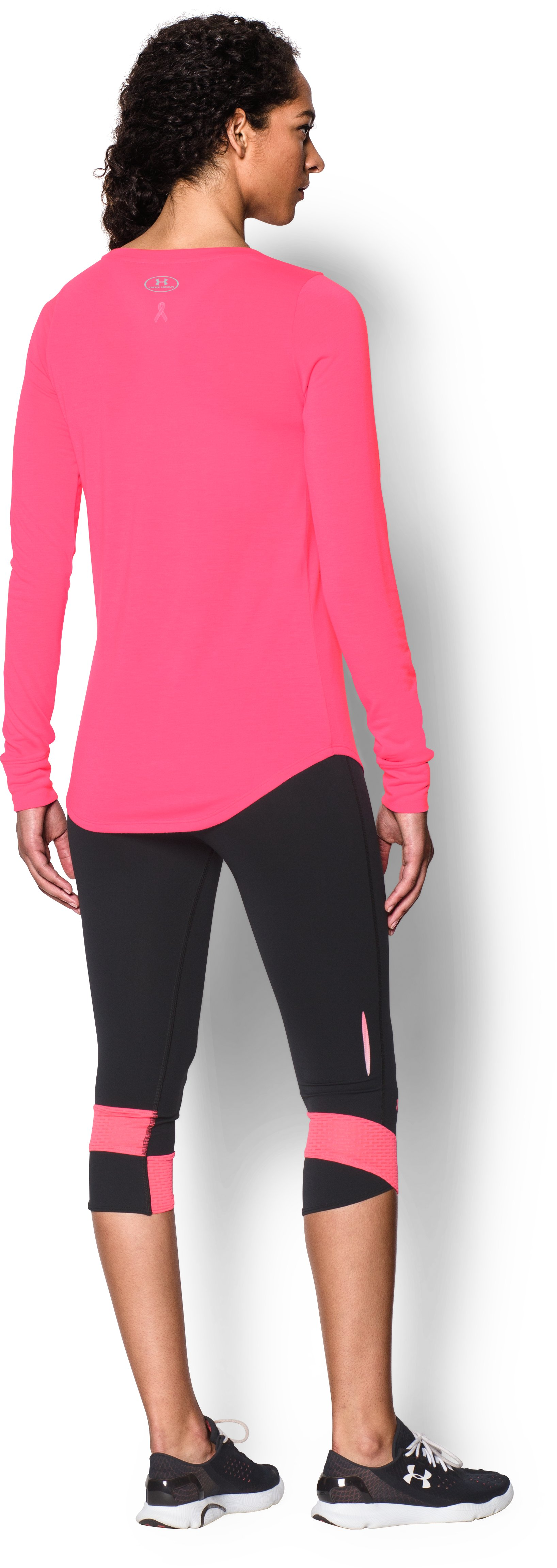 Women's UA Power In Pink® Triple Ribbon Long Sleeve, Cerise, Back