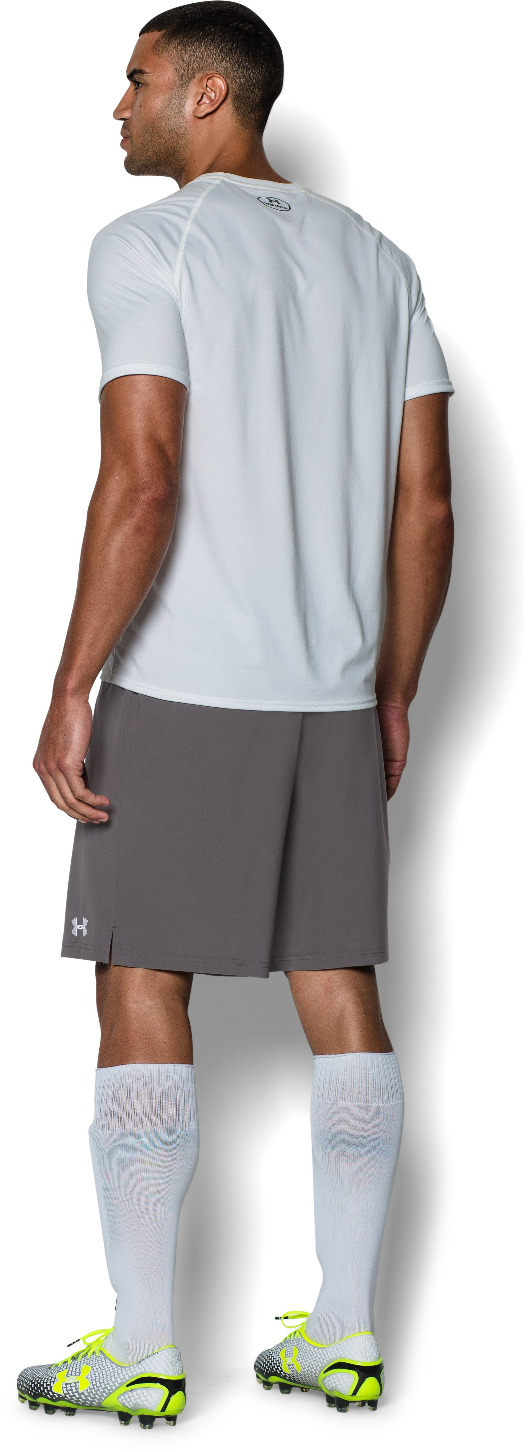 Men's UA Hustle Soccer Shorts, Graphite, Back