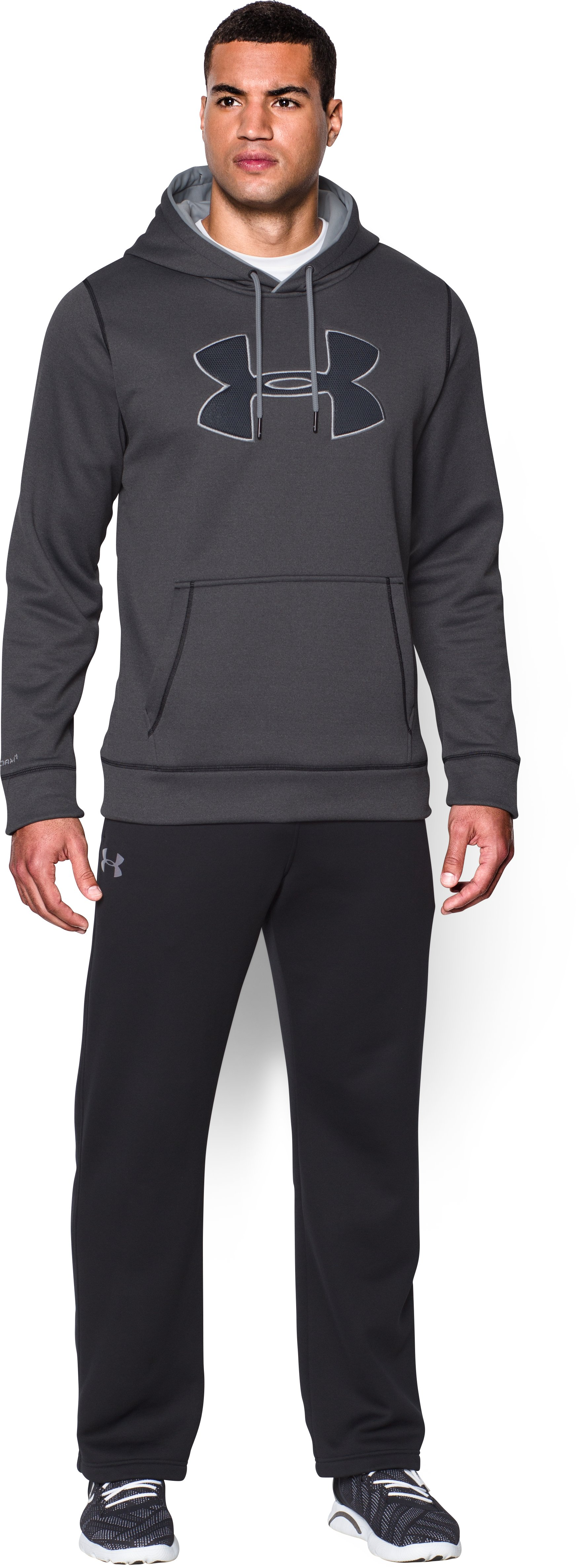 Men's UA Storm Armour® Fleece Big Logo Hoodie, Carbon Heather, Front